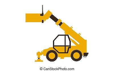 vetorial, illustration., telehandler., lustroso, machinery., construção, style., ícone