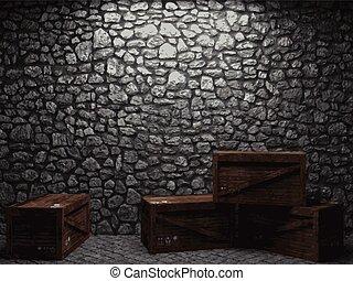 vetorial, iluminado, parede pedra, e, caixas