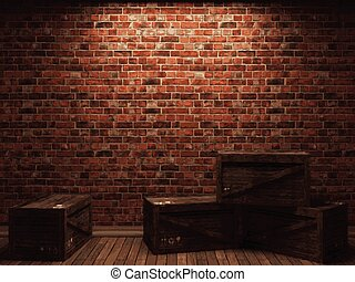 vetorial, iluminado, parede tijolo, e, caixas