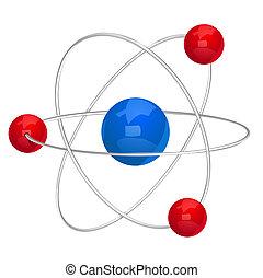 vetorial, ilustração, átomo