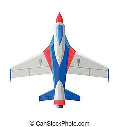 vetorial, ilustração, acima, ar, avião, vista, aeronave, transporte, jato