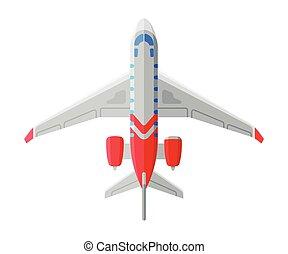 vetorial, ilustração, acima, ar, avião, vista, aeronave, transporte, voando