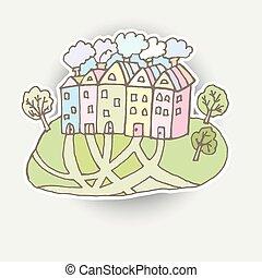 vetorial, ilustração, adesivo, com, um, quadro, houses., desenho, para, la