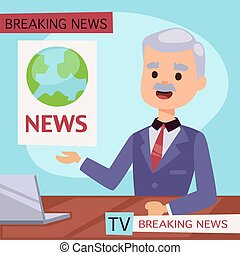 vetorial, ilustração, anchorman, quebrando notícia, e, tela...