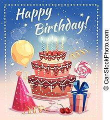 vetorial, ilustração, aniversário, feliz