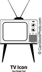vetorial, ilustração, antigas, retro, tv, ícone