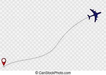 vetorial, ilustração, avião, track.
