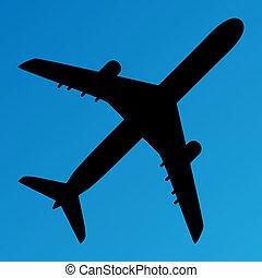 vetorial, ilustração, azul, silueta, avião, fundo