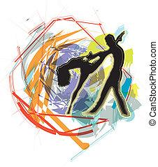 vetorial, ilustração, balé