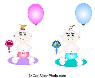 vetorial, ilustração, bebês