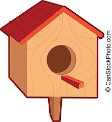 vetorial, ilustração, birdhouse, madeira