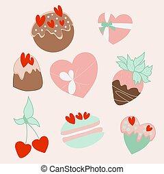 vetorial, ilustração, bolos, coloridos