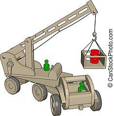 vetorial, ilustração, brinquedo, veículos, experiência., construção, branca