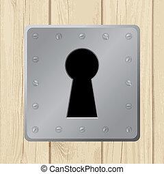 vetorial, ilustração, -, buraco fechadura, ligado, porta madeira