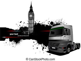 vetorial, ilustração, caminhão