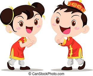 vetorial, ilustração, chinês, crianças