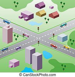 vetorial, ilustração, com, casas, e, carros, estrada