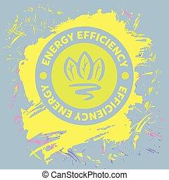 vetorial, ilustração, com, símbolos, de, recursos naturais, e, energy., poupar, energia, resources., melhorar, energia, efficiency., verde, arrow.