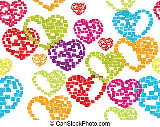 vetorial, ilustração, com, seamless, padrão, de, coloridos, formas coração, branco, fundo, feito, com, blocls, para, valentines, day.