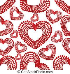 vetorial, ilustração, com, seamless, padrão, de, diffrent, typr, forma coração, em, vermelho, cor, branco, fundo, com, textura, para, valentines, day.