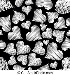 vetorial, ilustração, com, seamless, padrão, de, forma coração, ligado, experiência preta, com, textura, para, valentines, day.