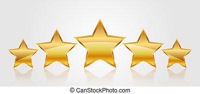 vetorial, ilustração, de, 5, ouro, estrelas
