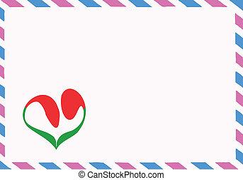 vetorial, ilustração, de, a, postal, envelope