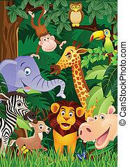 vetorial, ilustração, de, animal, carto