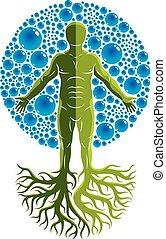 vetorial, ilustração, de, atlético, homem fez, com, árvore, raizes, e, cercado, com, água, bolhas, elemento, de, water., meio ambiente, conservação, metaphor.
