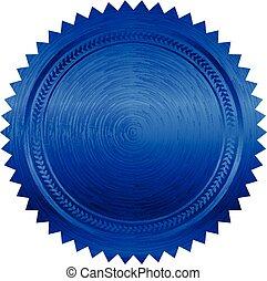 vetorial, ilustração, de, azul, selo