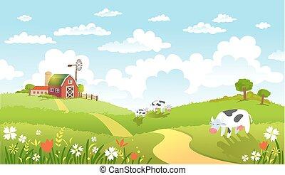 vetorial, ilustração, de, bonito, paisagem, com, farm.