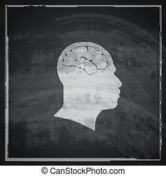 vetorial, ilustração, de, cabeça humana, com, cérebro, ligado, quadro-negro, fundo