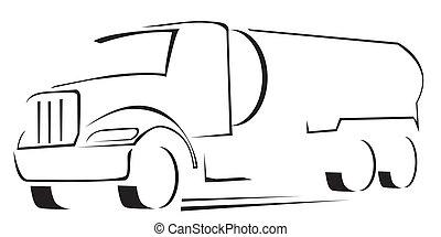 vetorial, ilustração, de, caminhão água
