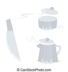 vetorial, ilustração, de, caricatura, cozinha, tools., objetos, isolado, branco, experiência.