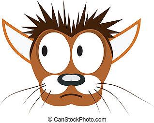 vetorial, ilustração, de, caricatura, gato, cabeça