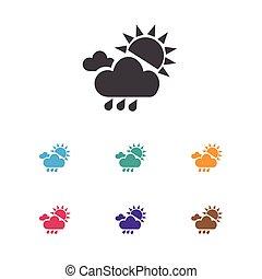 vetorial, ilustração, de, clima, símbolo, ligado, sol, granizo, icon., prêmio, qualidade, isolado, verão, chuva, elemento, em, trendy, apartamento, style.
