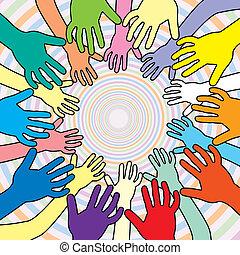 vetorial, ilustração, de, coloridos, mãos