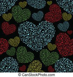 vetorial, ilustração, de, coloridos, musical, forma coração, com, seamless, padrão, ligado, experiência preta, para, valentines, day.