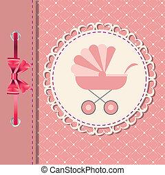 vetorial, ilustração, de, cor-de-rosa, carruagem bebê, para,...