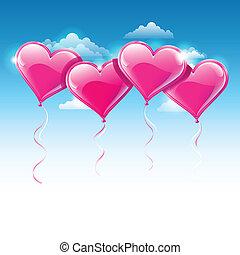 vetorial, ilustração, de, coração amoldou, balões, sobre, um, céu azul
