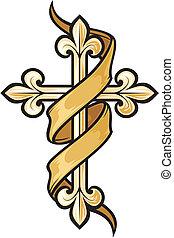 vetorial, ilustração, de, crucifixos