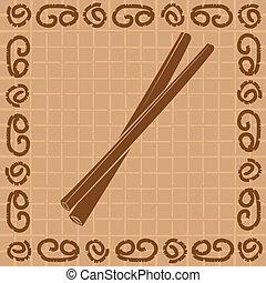 vetorial, ilustração, de, decorativo, varas canela