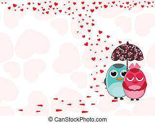 vetorial, ilustração, de, dois, ame pássaros, sob, com, guarda-chuva, ligado, forma coração, fundo, para, valentines, day.