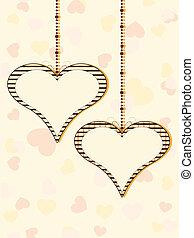 vetorial, ilustração, de, dois, penduradas, formas coração, com, espaço cópia, ligado, coloridos, seamless, formas coração, fundo, para, valentines, day.
