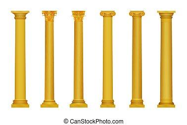 vetorial, ilustração, de, dourado, realístico, alto, detalhado, grego, roma, antiga, columns., luxo, ouro, column.