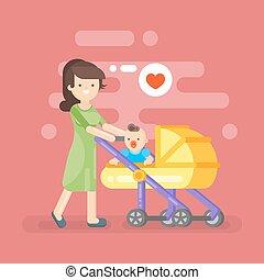 vetorial, ilustração, de, feliz, mãe, importar-se, dela, criança