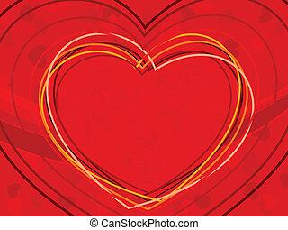 vetorial, ilustração, de, formas coração, feito, com, coloridos, linhas, ligado, vermelho, cor, seamless, fundo, para, valentines, day.