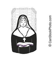 vetorial, ilustração, de, freira