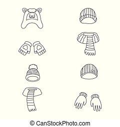 vetorial, ilustração, de, inverno, e, gelado, símbolo., cobrança, de, inverno, e, morno, estoque, vetorial, illustration.