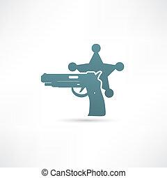 vetorial, ilustração, de, isolado, modernos, polícia, icon.